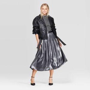 NWT Mid-Rise Flowy Midi Skirt Silver